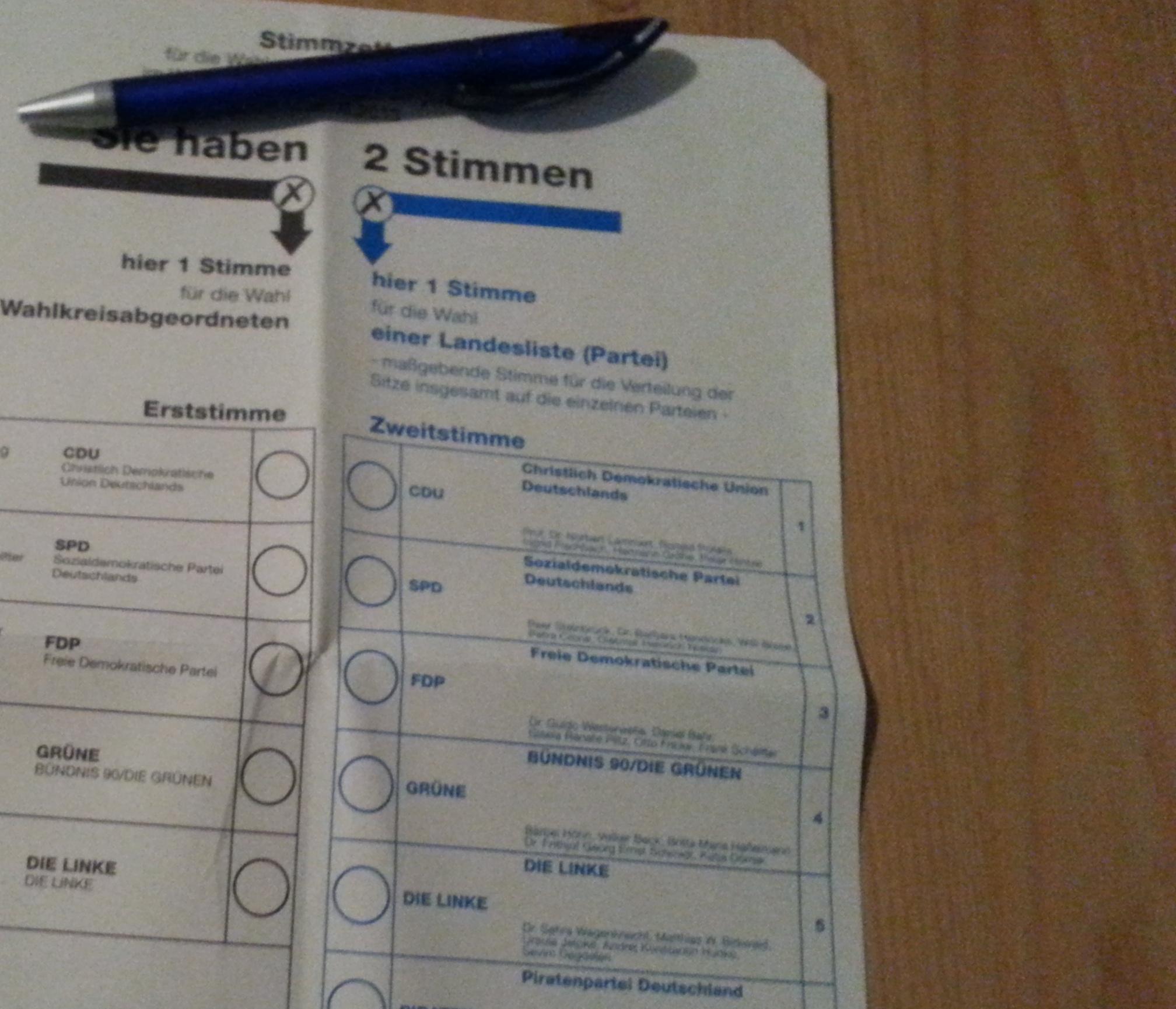 Stimmzettel 2013