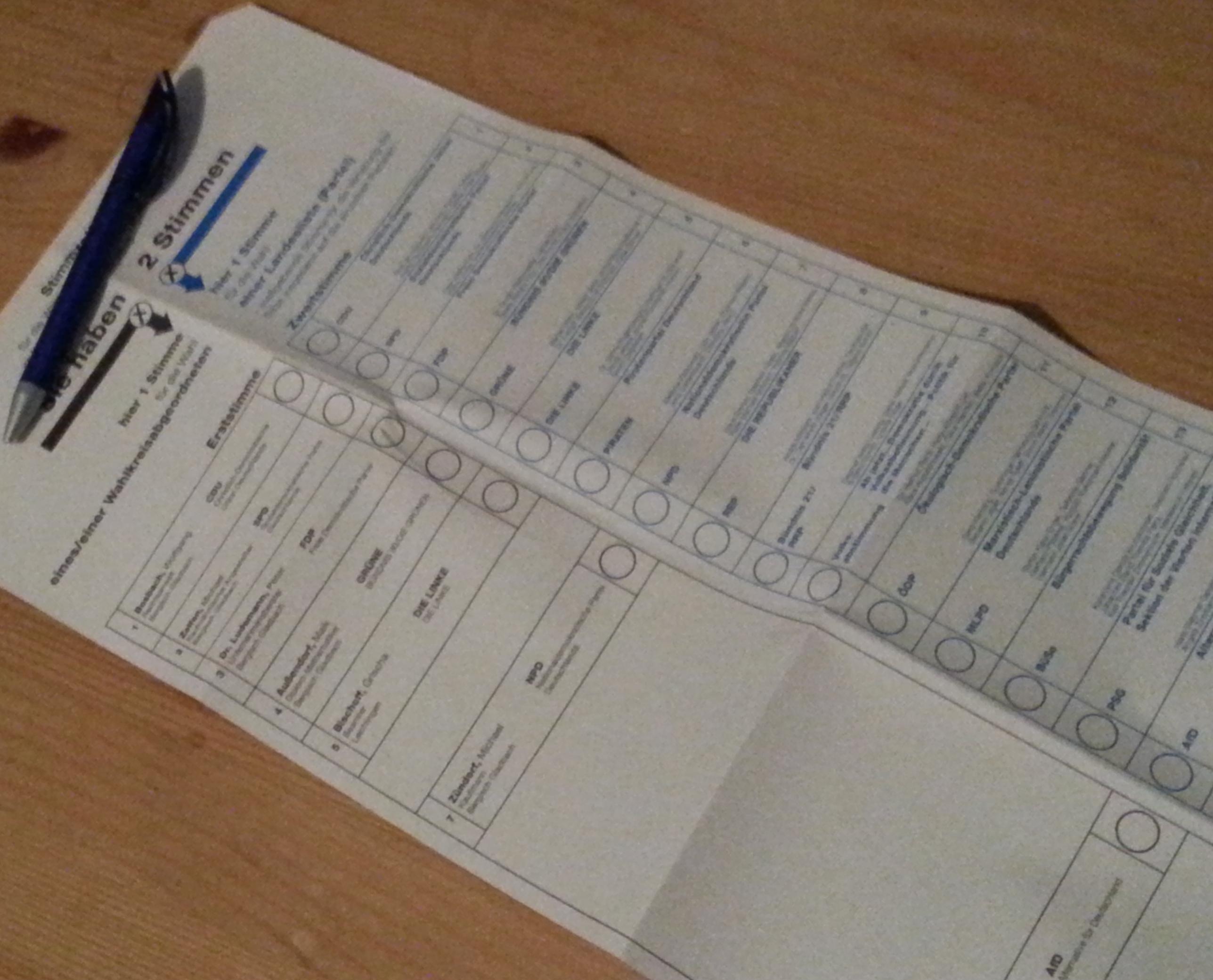 Wahlzettel zur btw13
